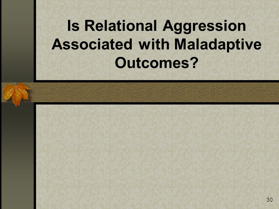 30 Is Relational Aggression Associated with Maladaptive Outcomes