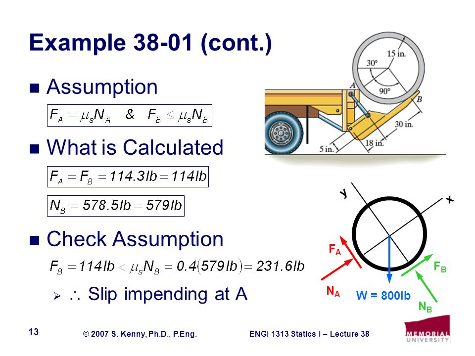 ENGI 1313 Statics I – Lecture 38© 2007 S.Kenny, Ph.D., P.Eng.
