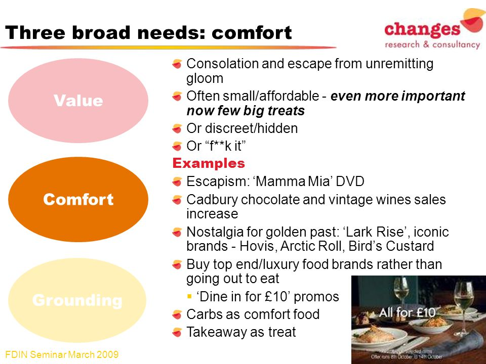 Three broad needs: comfort Consolation and escape from unremitting gloom Often small/affordable - even more important now few big treats Or discreet/hidden Or f**k it Examples Escapism: Mamma Mia DVD Cadbury chocolate and vintage wines sales increase Nostalgia for golden past: Lark Rise, iconic brands - Hovis, Arctic Roll, Birds Custard Buy top end/luxury food brands rather than going out to eat Dine in for £10 promos Carbs as comfort food Takeaway as treat FDIN Seminar March 2009 14 Value Comfort Grounding
