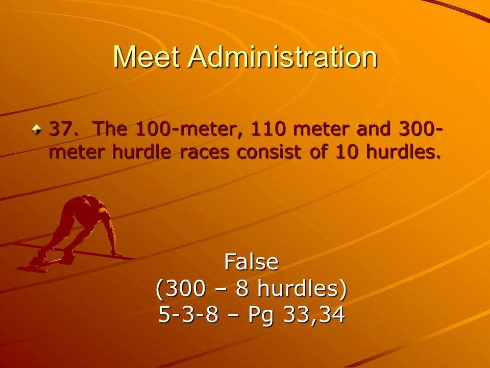 Meet Administration 37.The 100-meter, 110 meter and 300- meter hurdle races consist of 10 hurdles.