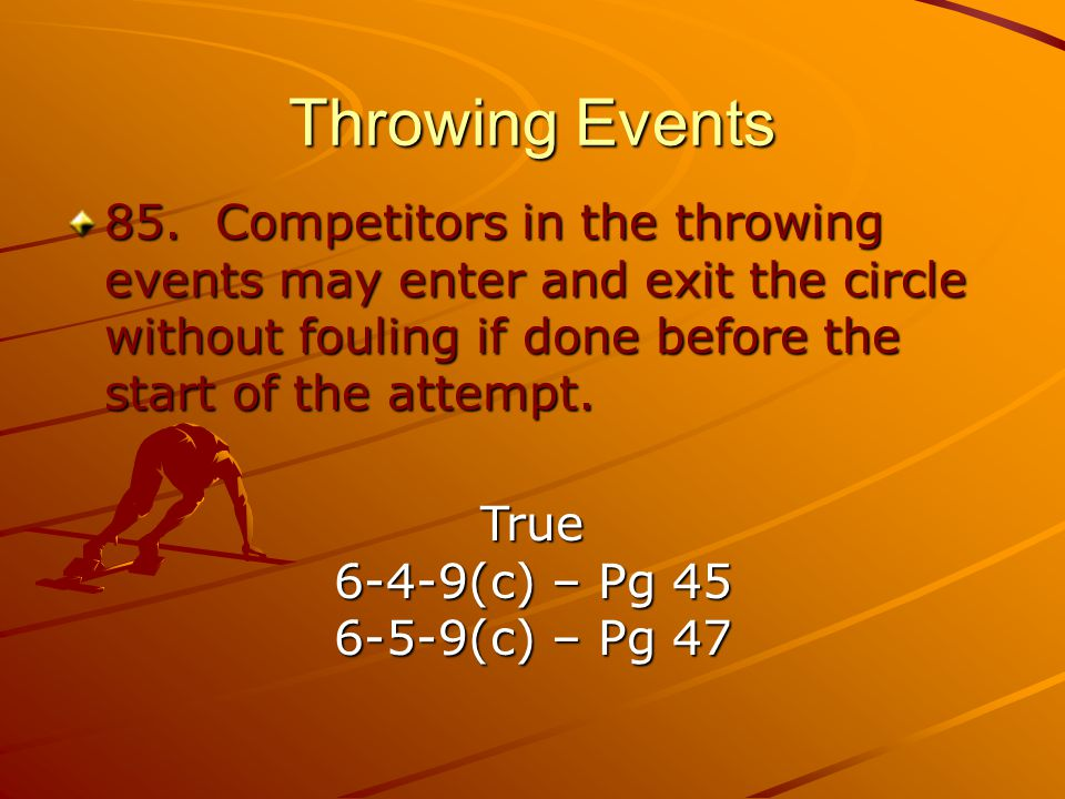 Throwing Events 85.