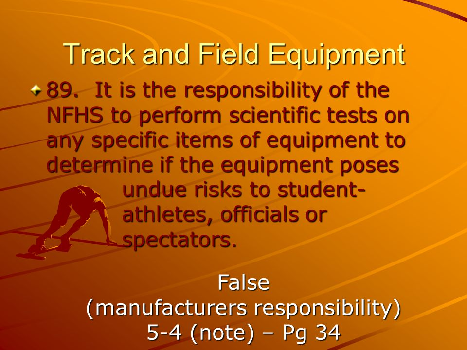 Track and Field Equipment 89.