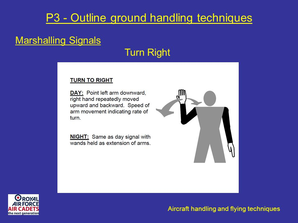 Aircraft handling and flying techniques P3 - Outline ground handling techniques Marshalling Signals Turn Right