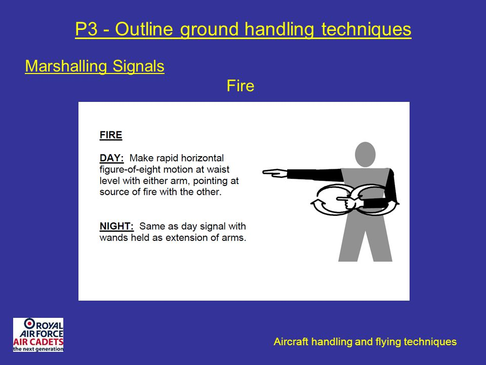 Aircraft handling and flying techniques P3 - Outline ground handling techniques Marshalling Signals Fire