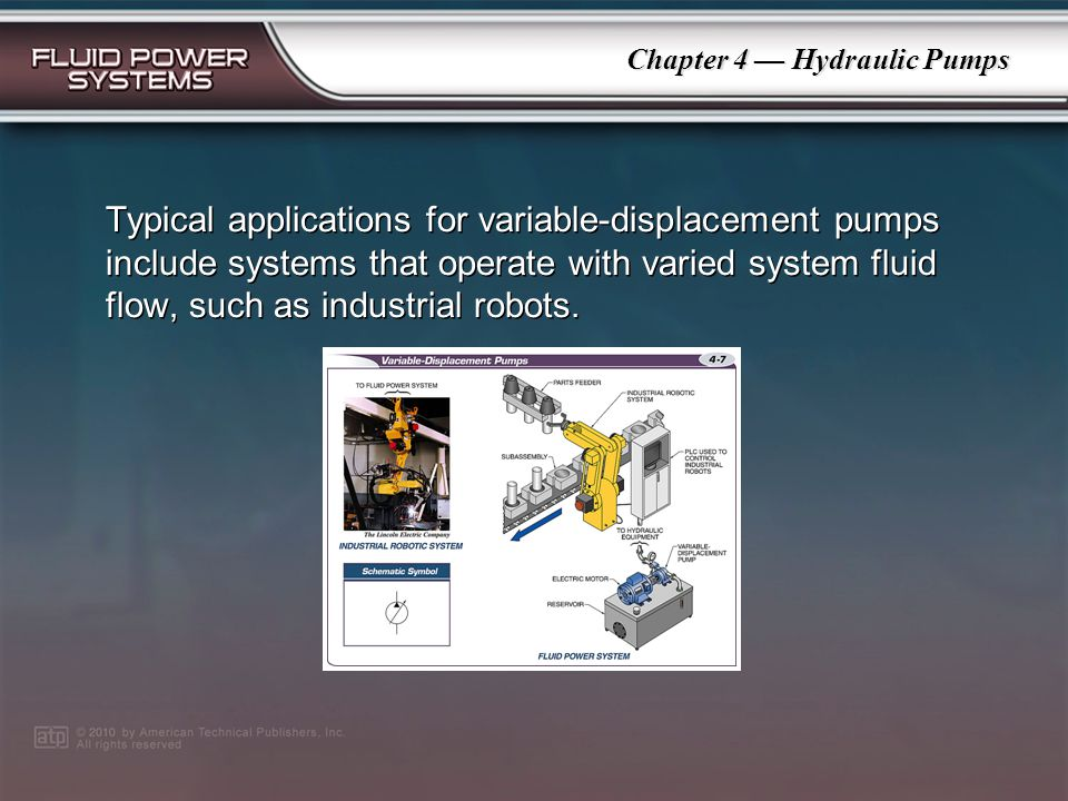Chapter 4 Hydraulic Pumps Fixed-displacement pumps are available in various sizes with different displacement ratings.