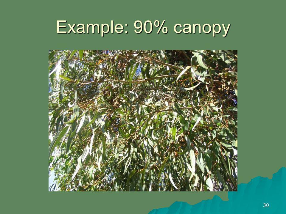 30 Example: 90% canopy
