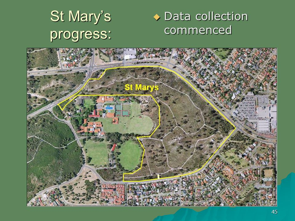 45 St Marys progress: Data collection commenced Data collection commenced