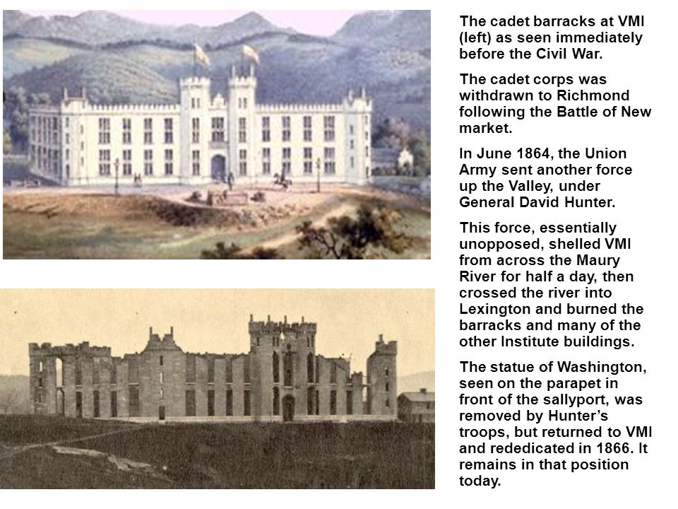 The cadet barracks at VMI (left) as seen immediately before the Civil War.