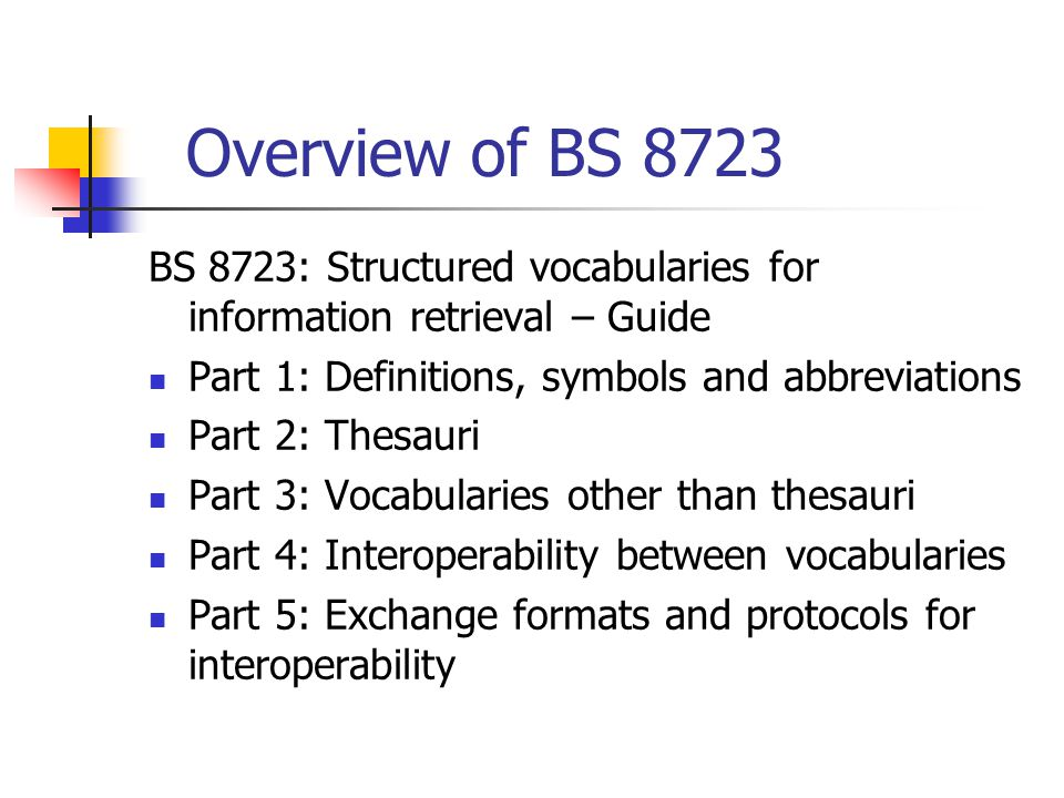 Overview of BS 8723 BS 8723: Structured vocabularies for information retrieval – Guide Part 1: Definitions, symbols and abbreviations Part 2: Thesauri Part 3: Vocabularies other than thesauri Part 4: Interoperability between vocabularies Part 5: Exchange formats and protocols for interoperability