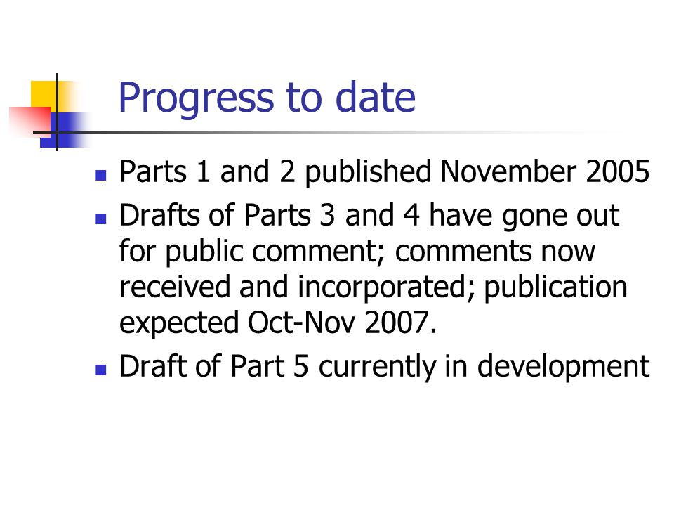 Progress to date Parts 1 and 2 published November 2005 Drafts of Parts 3 and 4 have gone out for public comment; comments now received and incorporated; publication expected Oct-Nov 2007.