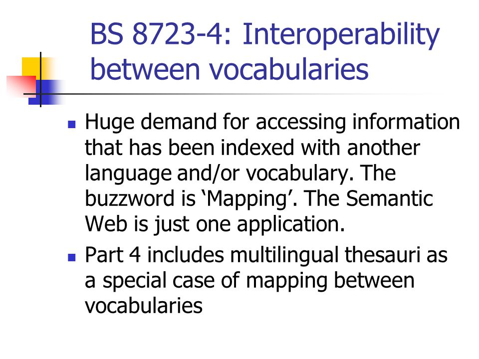 BS 8723-4: Interoperability between vocabularies Huge demand for accessing information that has been indexed with another language and/or vocabulary.