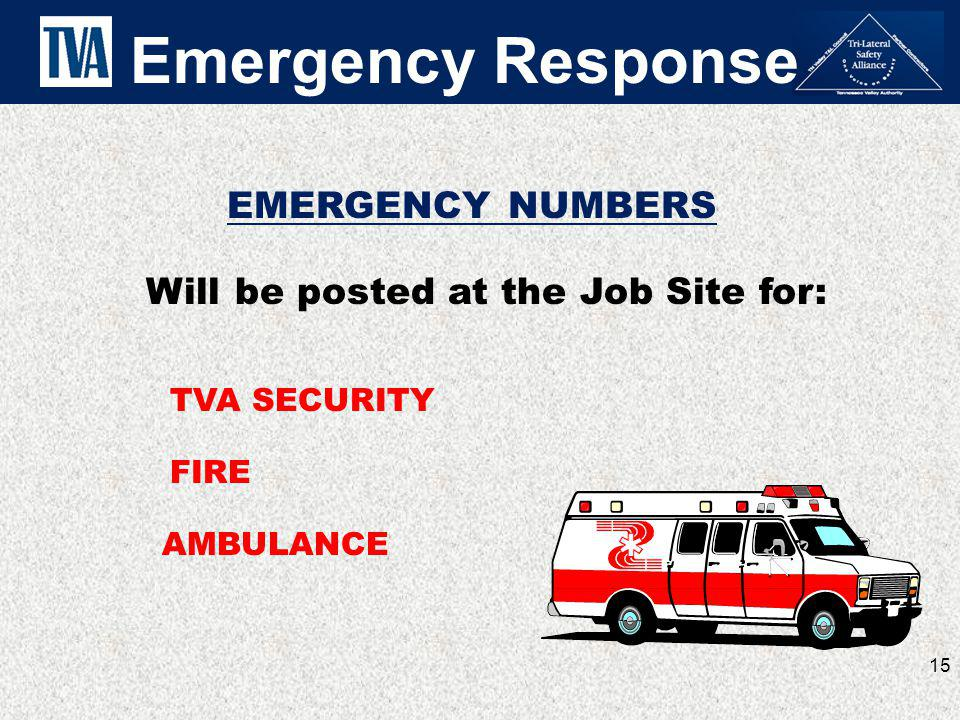 EMERGENCY NUMBERS AMBULANCE TVA SECURITY FIRE Emergency Response 15 Will be posted at the Job Site for: