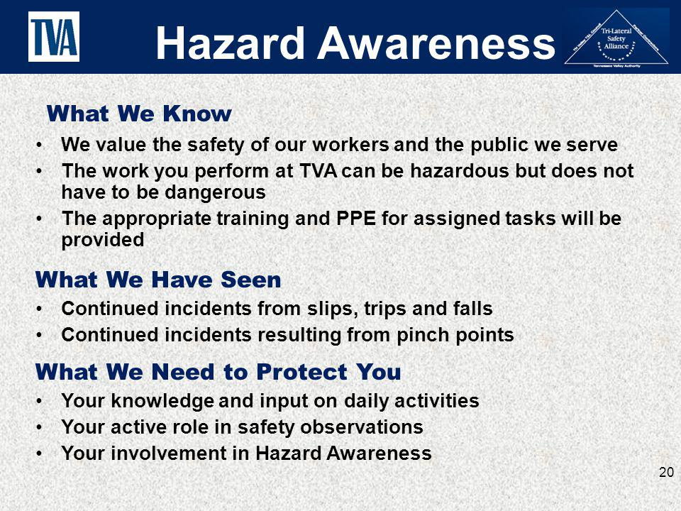What We Know We value the safety of our workers and the public we serve The work you perform at TVA can be hazardous but does not have to be dangerous