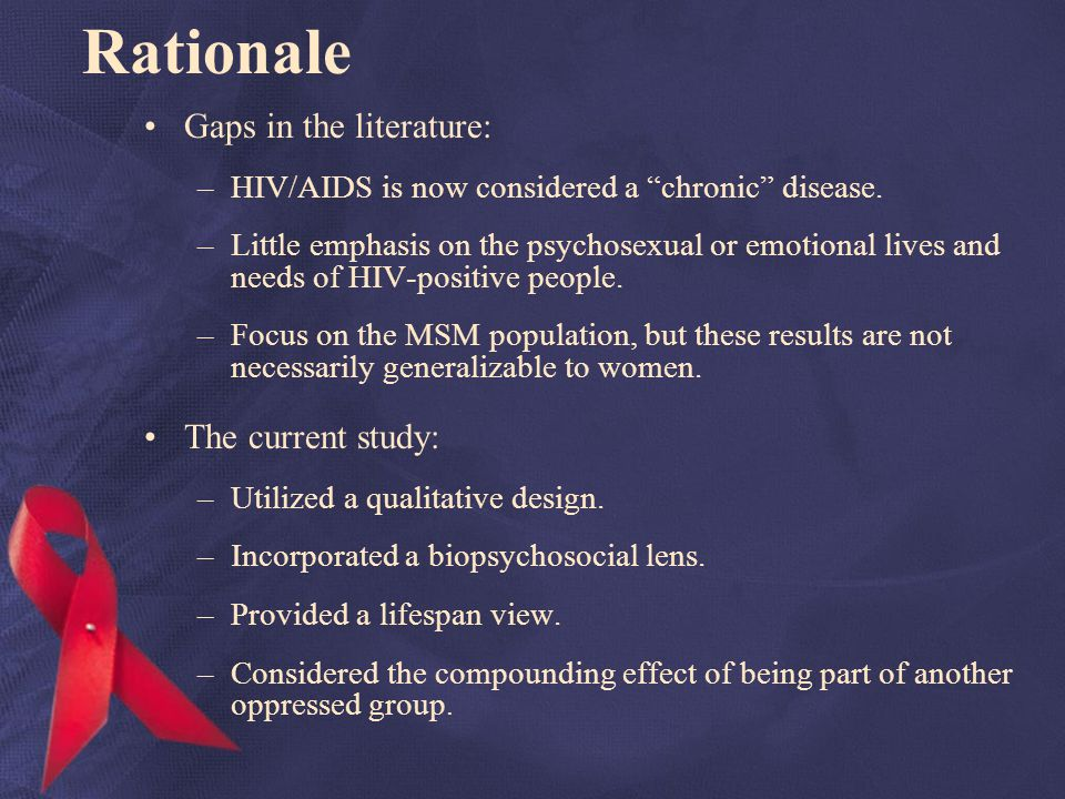 Rationale Gaps in the literature: –HIV/AIDS is now considered a chronic disease.