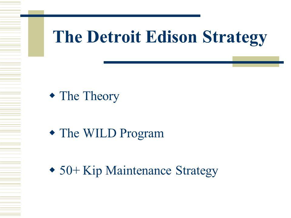 The Detroit Edison Strategy The Theory The WILD Program 50+ Kip Maintenance Strategy