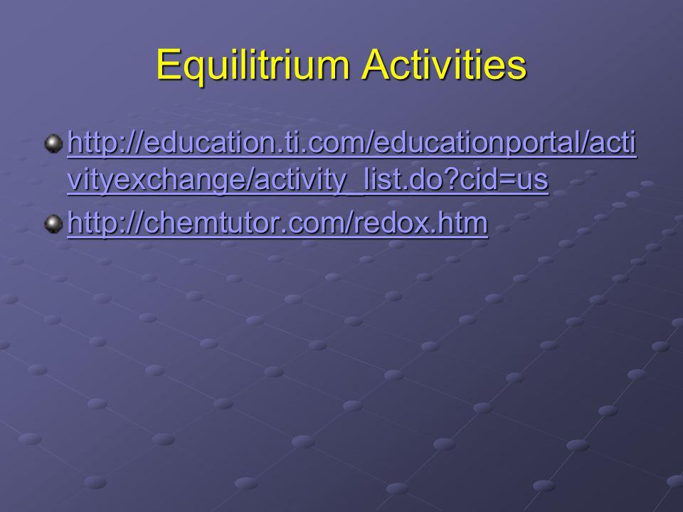 Equilitrium Activities http://education.ti.com/educationportal/acti vityexchange/activity_list.do cid=us http://education.ti.com/educationportal/acti vityexchange/activity_list.do cid=us http://chemtutor.com/redox.htm