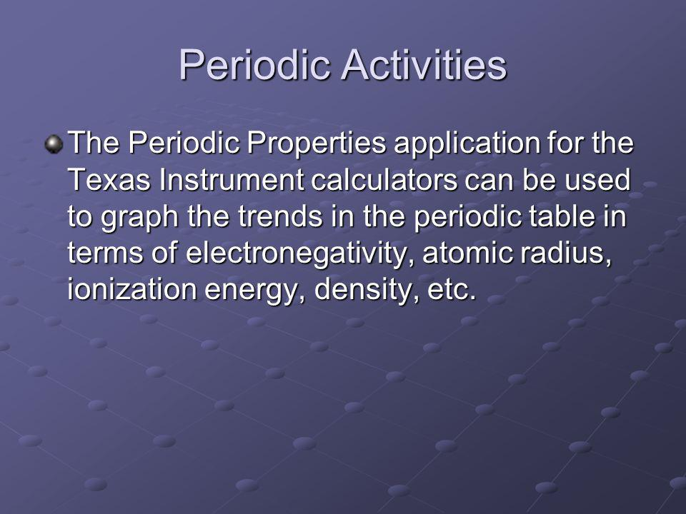 Periodic Activities The Periodic Properties application for the Texas Instrument calculators can be used to graph the trends in the periodic table in terms of electronegativity, atomic radius, ionization energy, density, etc.