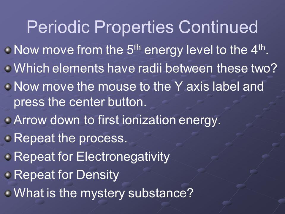 Periodic Properties Continued Now move from the 5 th energy level to the 4 th.
