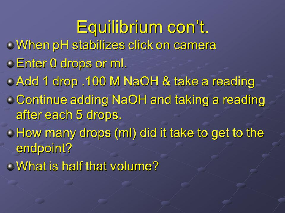 Equilibrium cont. When pH stabilizes click on camera Enter 0 drops or ml.