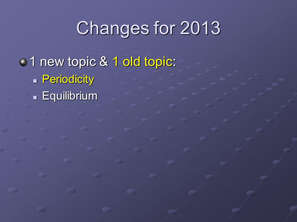 Changes for 2013 1 new topic & 1 old topic: Periodicity Periodicity Equilibrium Equilibrium