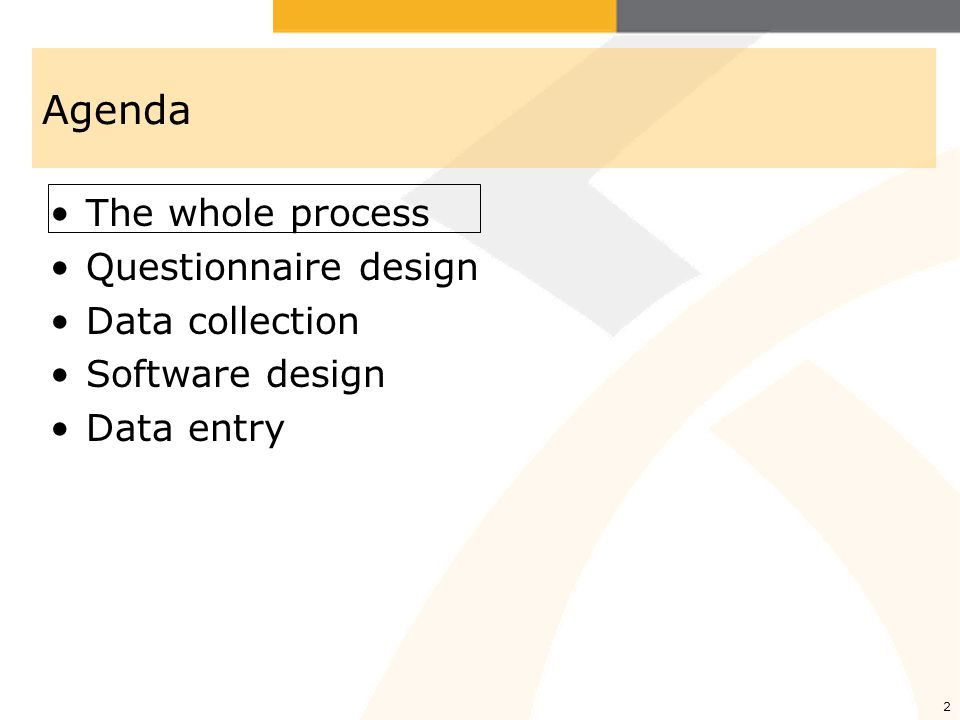13 Data entry software Software –Need to think about it as soon as questionnaire close to final –Could be done by survey company or outsourced to someone else (less expensive, or someone you trust better) –Goal is that DEO should be able to do as few mistakes as possible