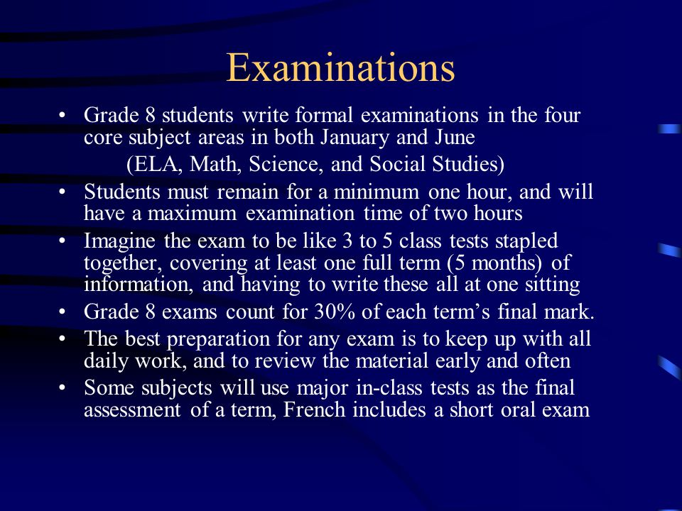 Exemptions The exemption from a formal June exam in ELA, Math, Science, and/or Social Studies is a privilege which may be accorded to a student who has fulfilled certain criteria under these categories: Active and complete participation in class work and course assignments Excellent marks in the course year-long (above 80% T2 and course average T1 and T2) Regular attendance in that class (less than 12 absences) Positive attitude toward the course Academic honesty towards all of their studies Five or fewer recorded infractions over the entire school year The exact requirements for exemptions are outlined in the St.
