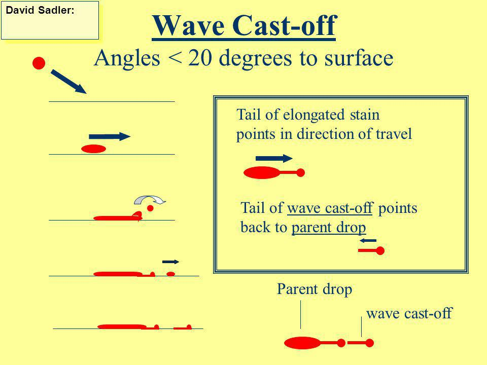 Angle of Impact 90 10 70 20 30 60 50 40 Adapted from Introduction to Forensic Sciences, W. Eckert, CRC, 1997 80 Elongated shape; more dense at lower e
