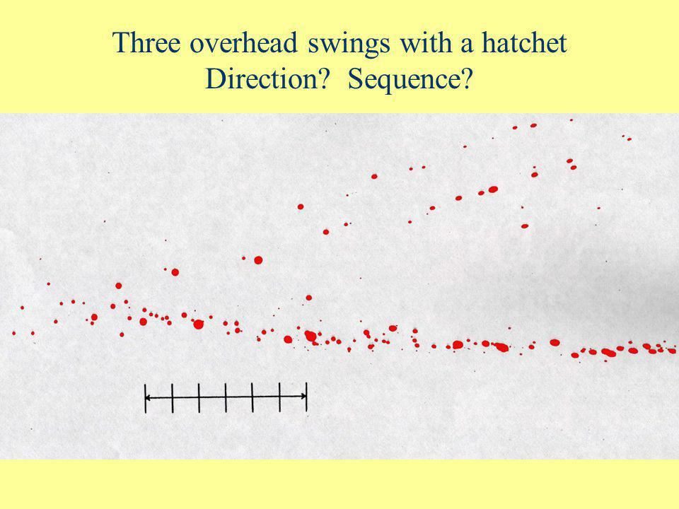 Cast off Pattern (2/2) Sequence? 1 (4 spots) 2 (3 spots) 3 (2 spots) If weapon does not pick up more blood, the spatter from subsequent backswings bec