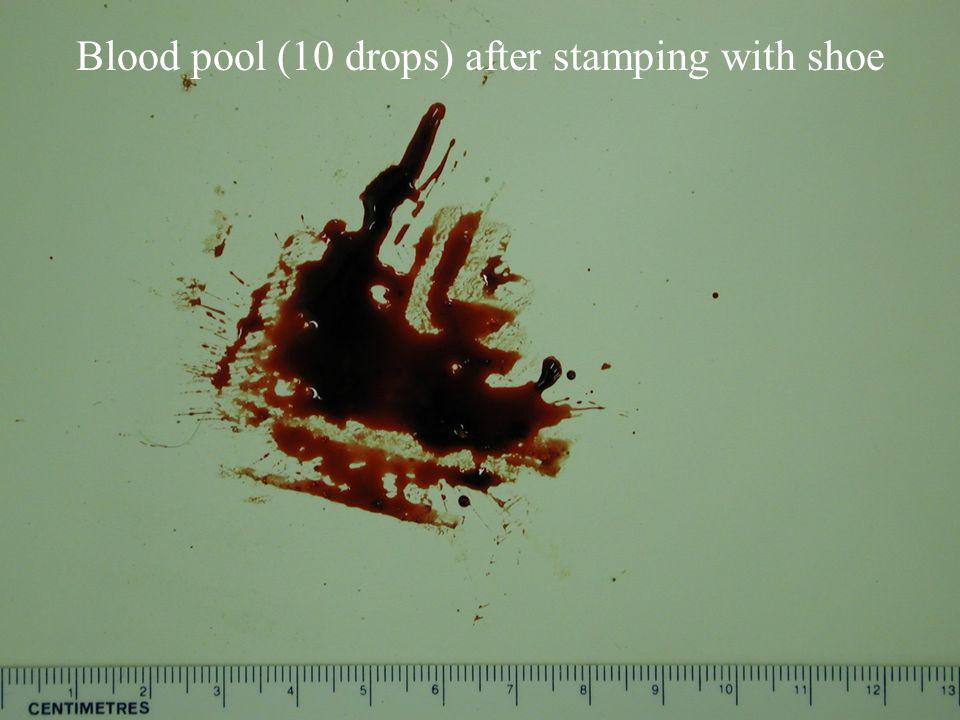 Stamp 1 Blood pool (10 drops) before stamping