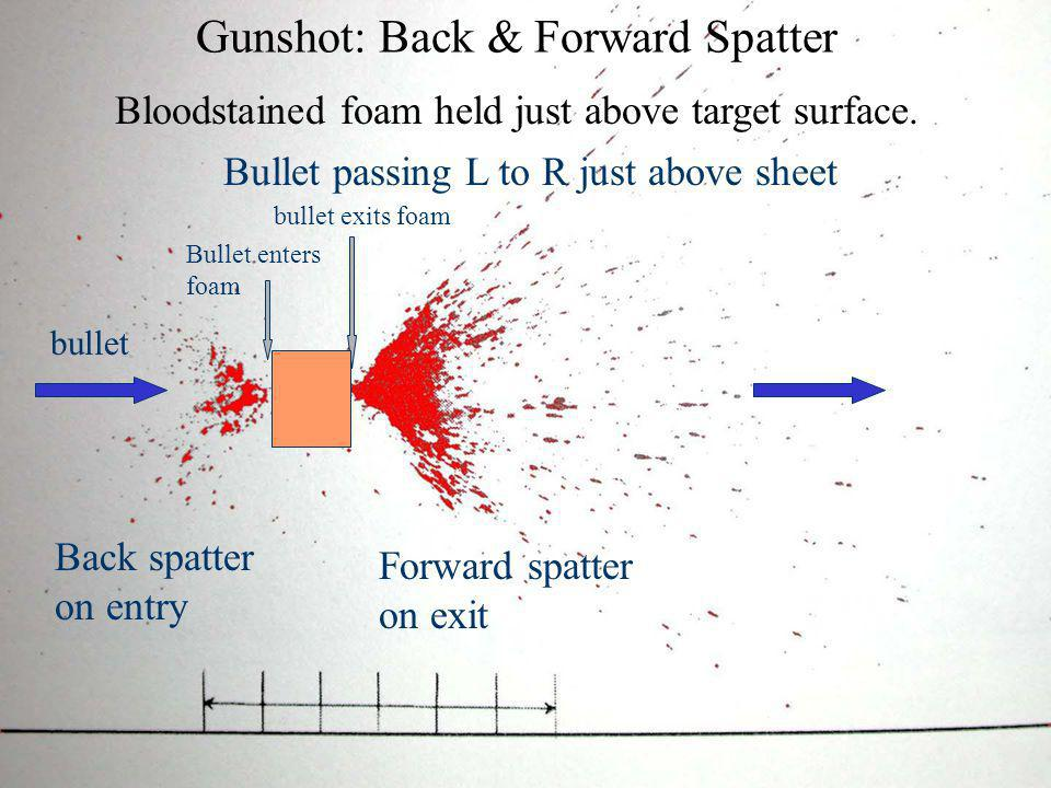 High Velocity Blood Spatter Blood source subjected to HV impact –> 100 f/s, 30 m/s Fine mist: spot size < 0.1 mm Small mass limits spread to 1 m Some