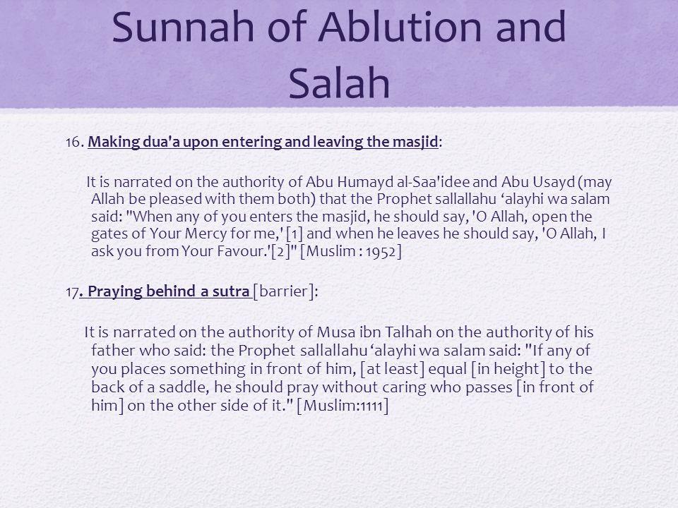 Sunnah of Ablution and Salah 16.