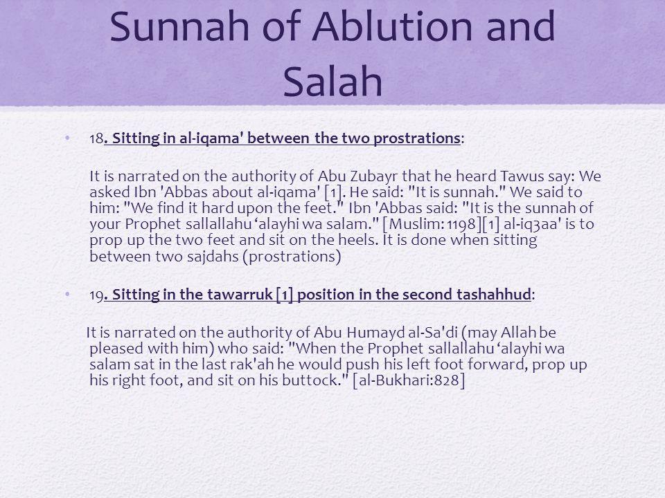 Sunnah of Ablution and Salah 18.