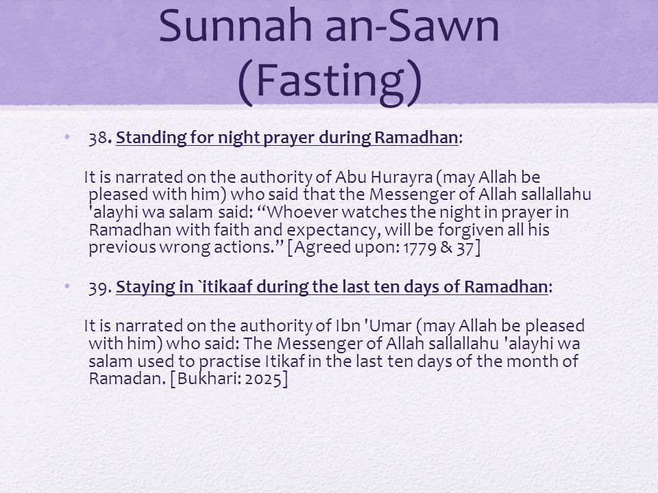Sunnah an-Sawn (Fasting) 38.