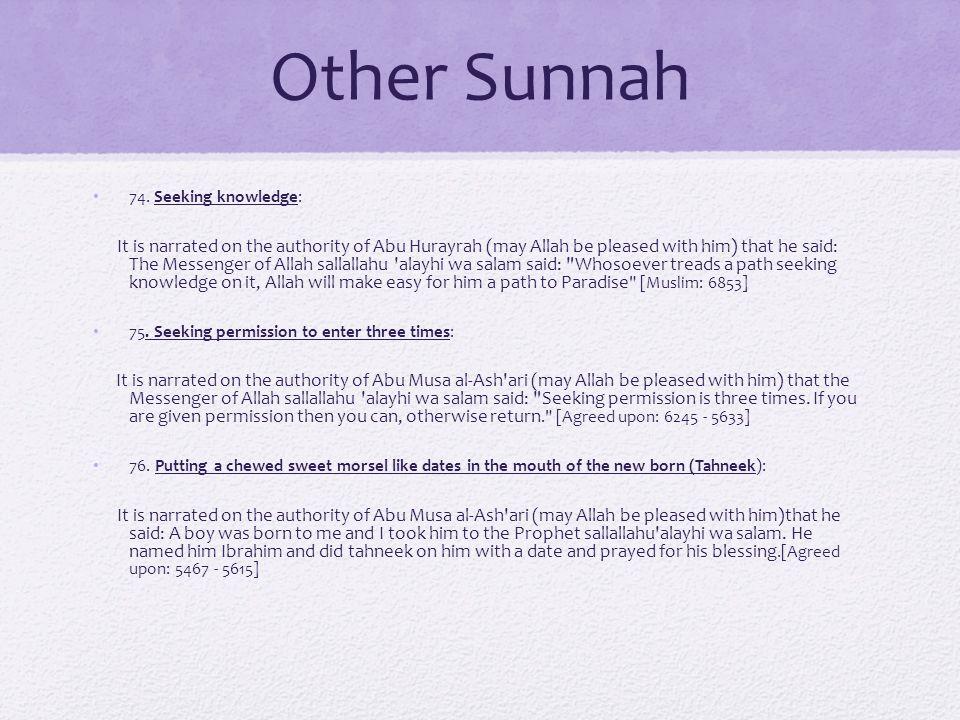 Other Sunnah 74.