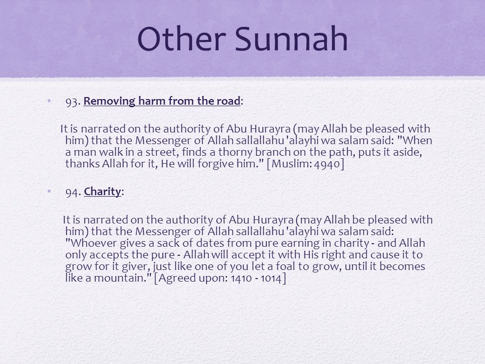 Other Sunnah 93. Removing harm from the road: It is narrated on the authority of Abu Hurayra (may Allah be pleased with him) that the Messenger of All