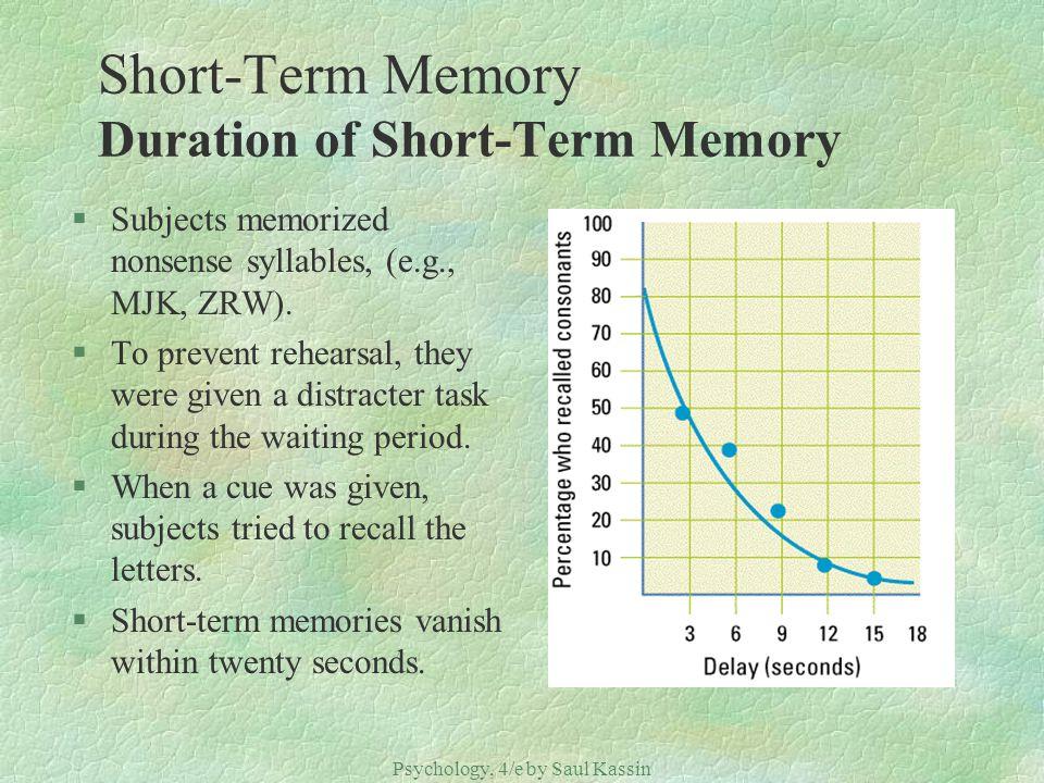 Psychology, 4/e by Saul Kassin ©2004 Prentice Hall Short-Term Memory Duration of Short-Term Memory §Subjects memorized nonsense syllables, (e.g., MJK,