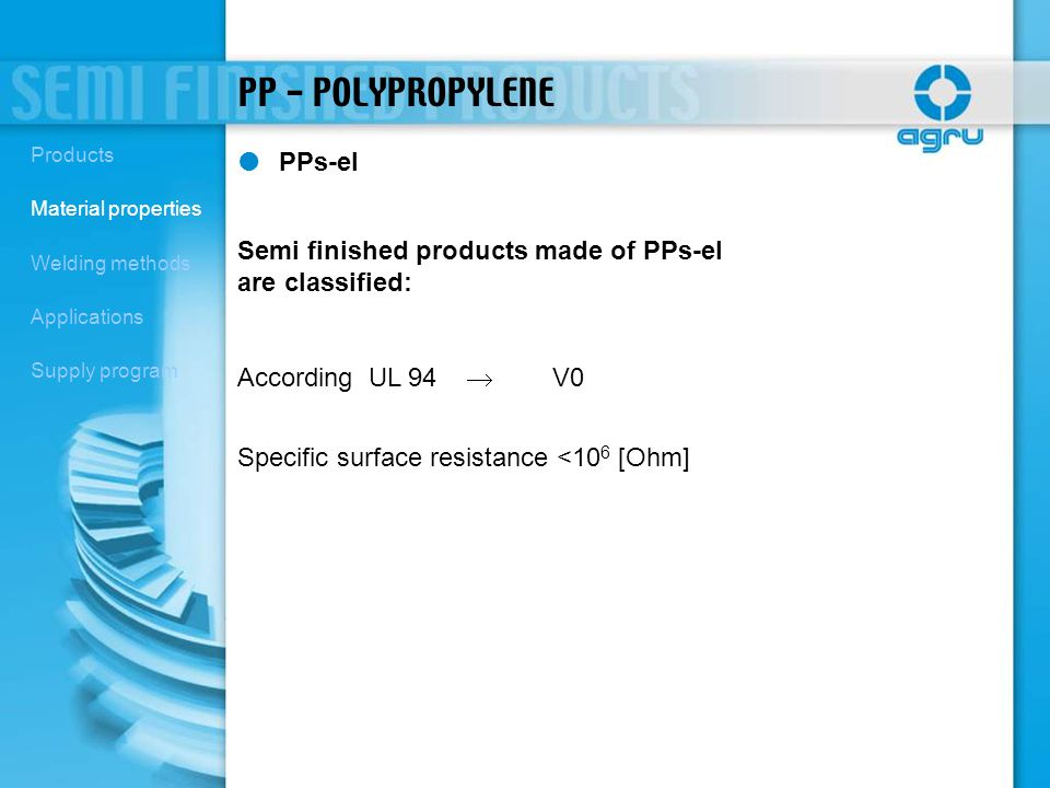 PP - POLYPROPYLENE PPs-el Semi finished products made of PPs-el are classified: According UL 94 V0 Specific surface resistance <10 6 [Ohm] Products Ma