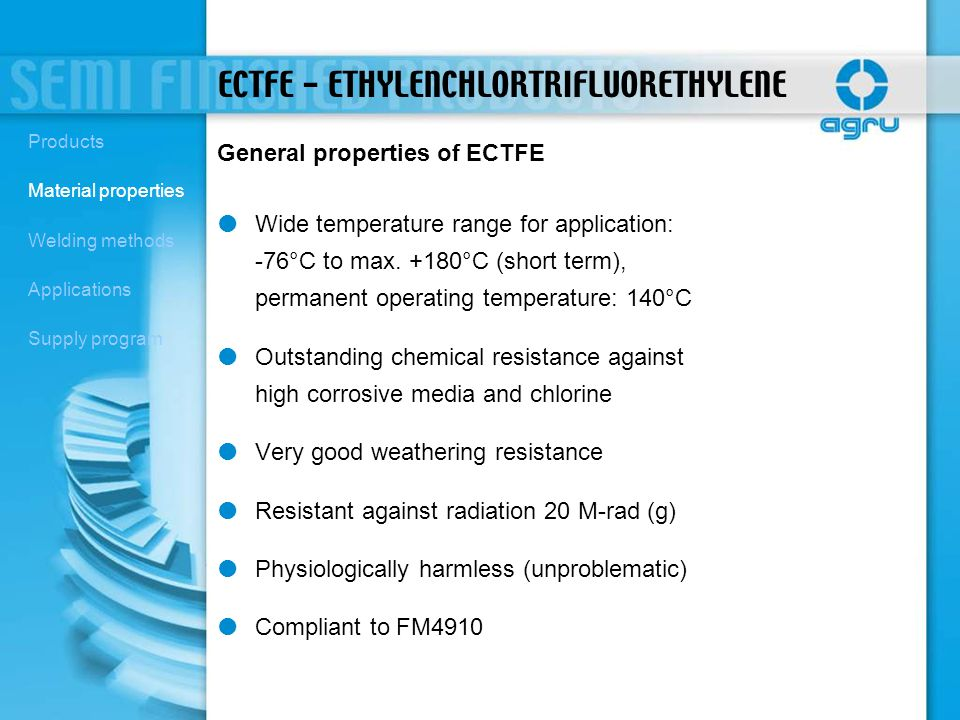 ECTFE - ETHYLENCHLORTRIFLUORETHYLENE Wide temperature range for application: -76°C to max. +180°C (short term), permanent operating temperature: 140°C