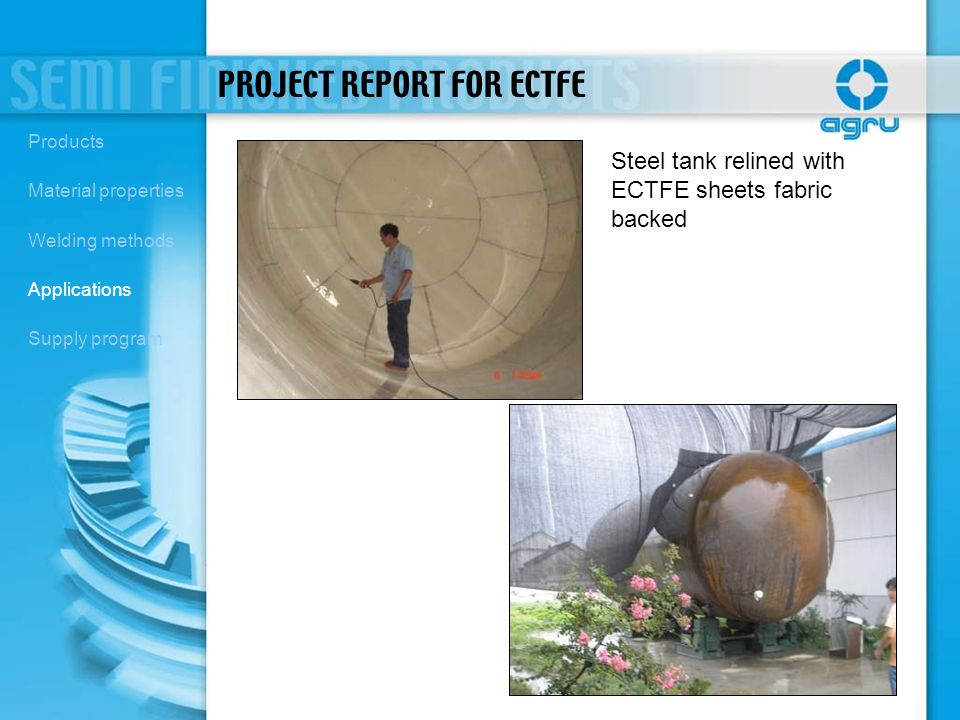 Steel tank relined with ECTFE sheets fabric backed PROJECT REPORT FOR ECTFE Products Material properties Welding methods Applications Supply program