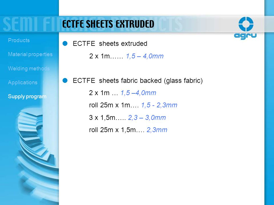 ECTFE SHEETS EXTRUDED ECTFE sheets extruded 2 x 1m…… 1,5 – 4,0mm ECTFE sheets fabric backed (glass fabric) 2 x 1m … 1,5 –4,0mm roll 25m x 1m…. 1,5 - 2