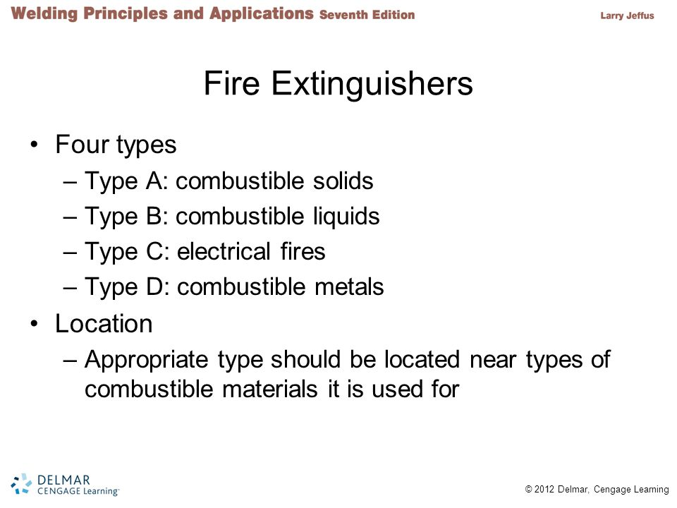 © 2012 Delmar, Cengage Learning Fire Extinguishers Four types –Type A: combustible solids –Type B: combustible liquids –Type C: electrical fires –Type