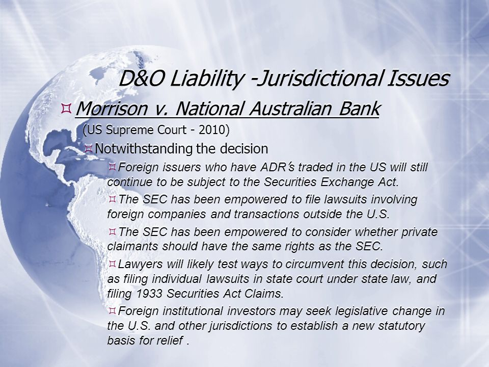 D&O Liability -Jurisdictional Issues Morrison v.
