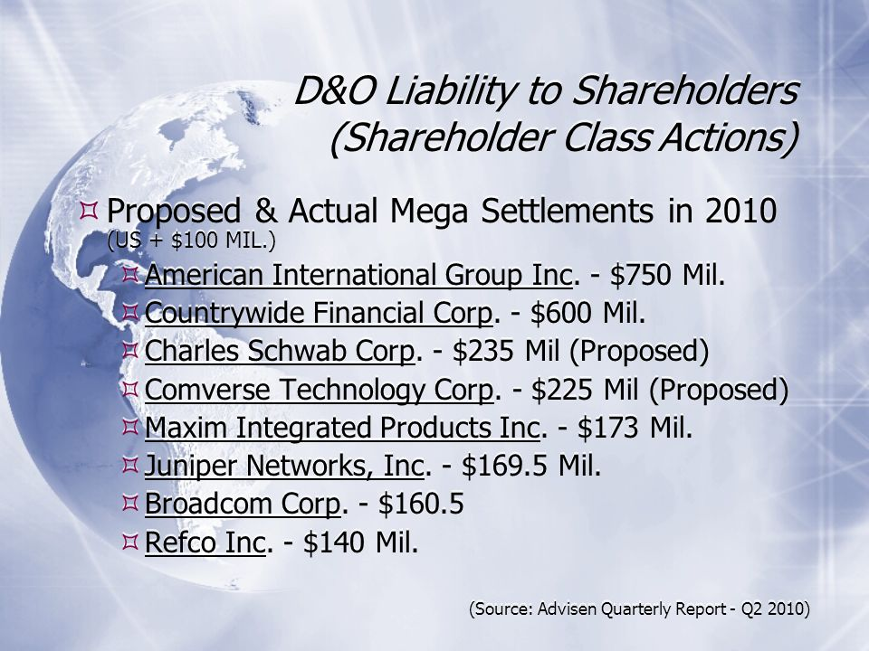 D&O Liability to Shareholders (Shareholder Class Actions) Proposed & Actual Mega Settlements in 2010 (US + $100 MIL.) American International Group Inc.