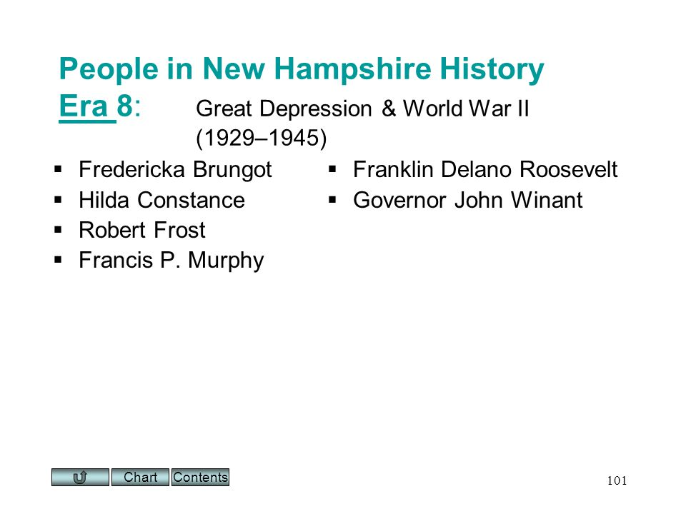 Chart 101 People in New Hampshire History Era 8: Great Depression & World War II (1929–1945) Era Fredericka Brungot Hilda Constance Robert Frost Francis P.