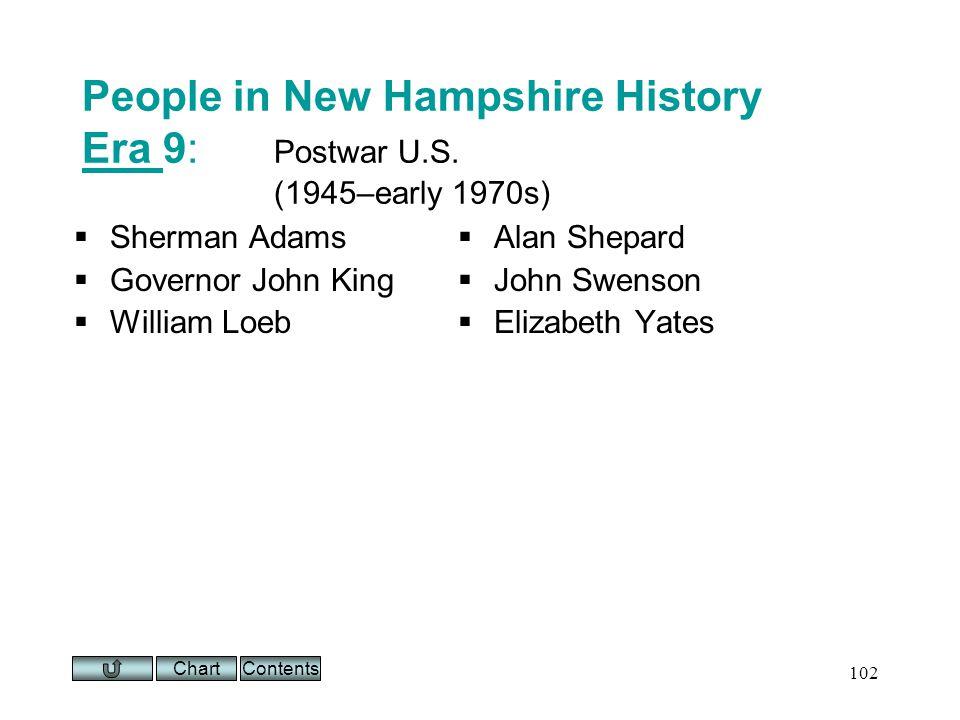 Chart 102 People in New Hampshire History Era 9: Postwar U.S.
