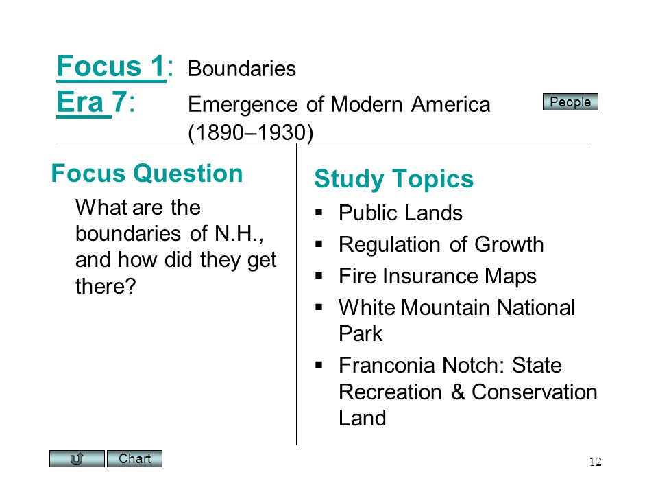 Chart 12 Focus 1Focus 1: Boundaries Era 7: Emergence of Modern America (1890–1930) Era Focus Question What are the boundaries of N.H., and how did they get there.