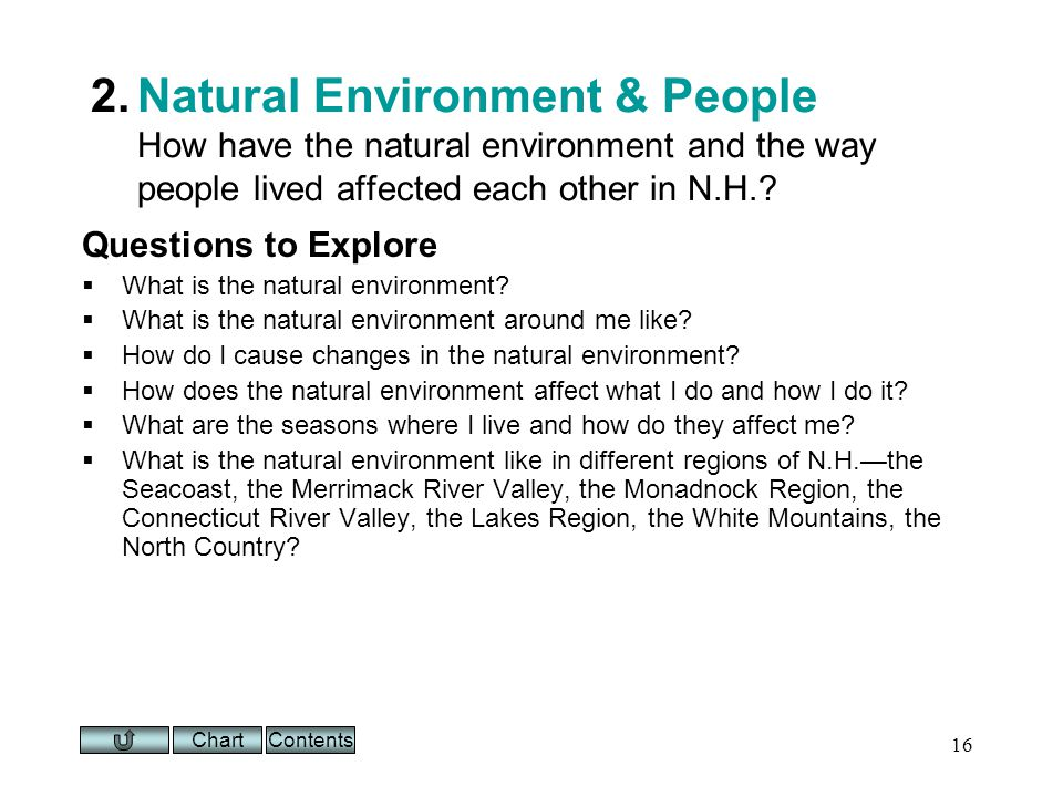 Chart 16 2.Natural Environment & People How have the natural environment and the way people lived affected each other in N.H..