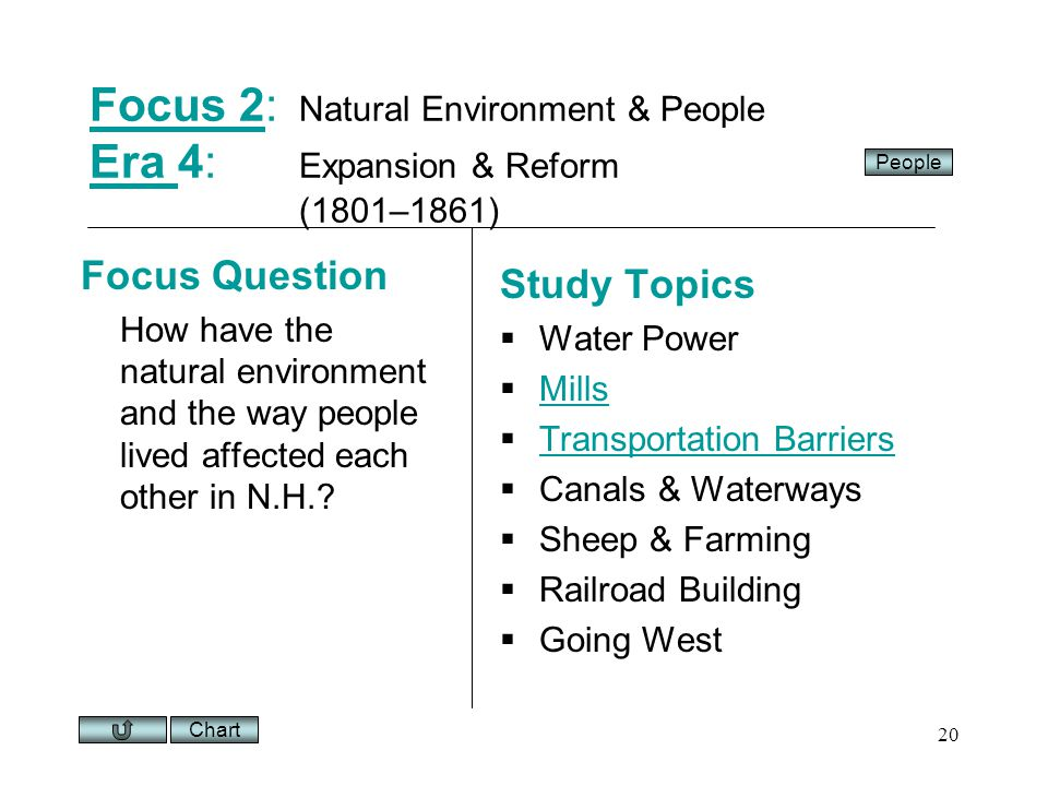 Chart 20 Focus 2Focus 2: Natural Environment & People Era 4: Expansion & Reform (1801–1861) Era Focus Question How have the natural environment and the way people lived affected each other in N.H..