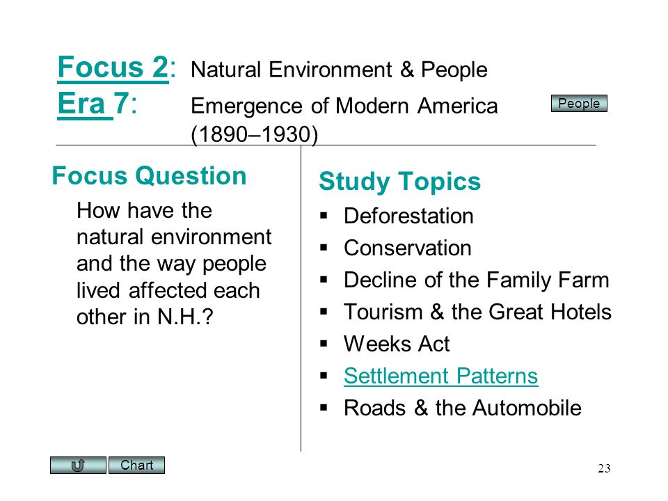 Chart 23 Focus 2Focus 2: Natural Environment & People Era 7: Emergence of Modern America (1890–1930) Era Focus Question How have the natural environment and the way people lived affected each other in N.H..