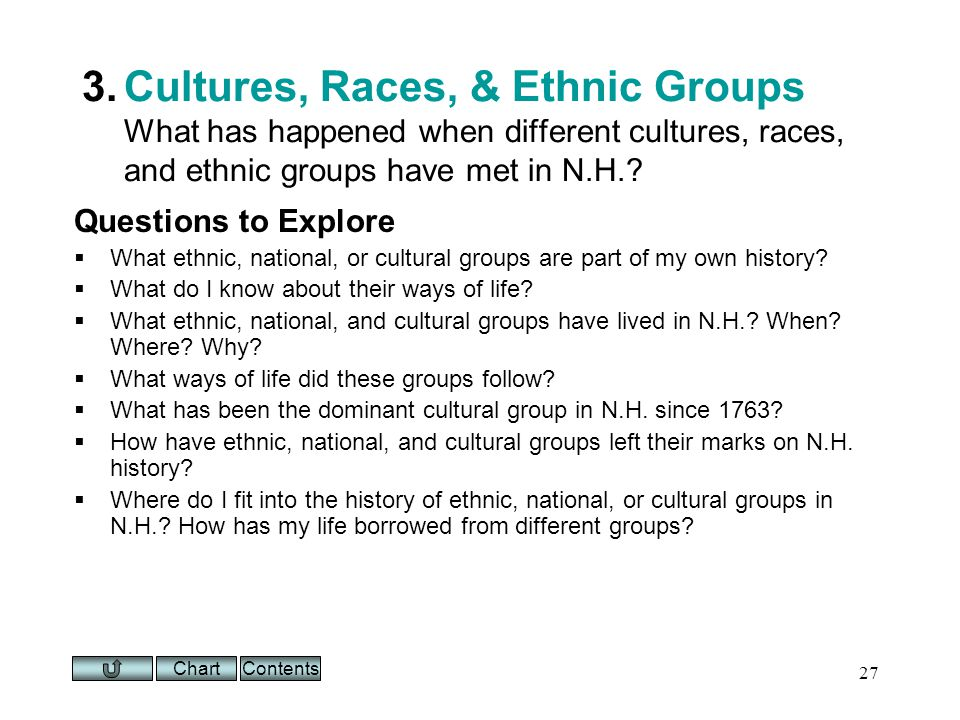 Chart 27 3.Cultures, Races, & Ethnic Groups What has happened when different cultures, races, and ethnic groups have met in N.H..